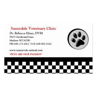 Tablero de damas animal veterinario del logotipo tarjetas de visita