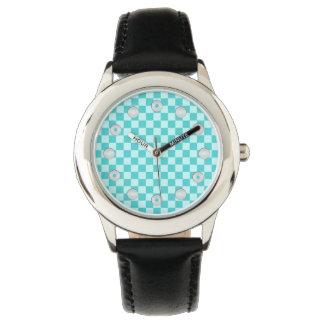 Tablero de damas azul de la obra clásica de la relojes de mano