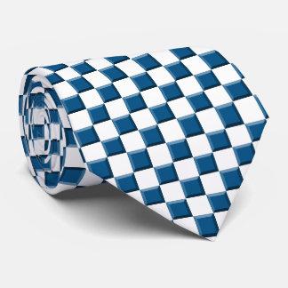 Tablero de damas azul y blanco corbata personalizada