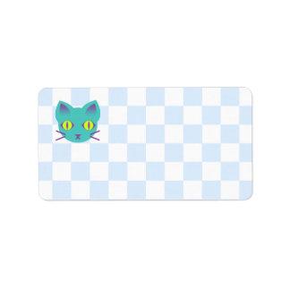 Tablero de damas azul y blanco del gato del gatito etiquetas de dirección