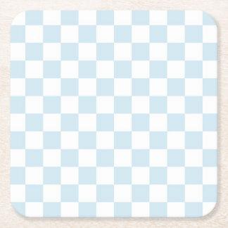 Tablero de damas azul y blanco en colores pastel posavasos de cartón cuadrado