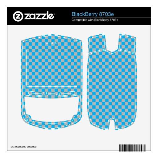 Tablero de damas azul y de plata brillante del gri BlackBerry skin