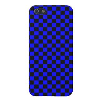 Tablero de damas azul y negro iPhone 5 carcasas