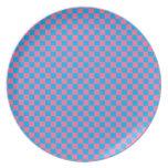 Tablero de damas azul y rosado brillante platos para fiestas