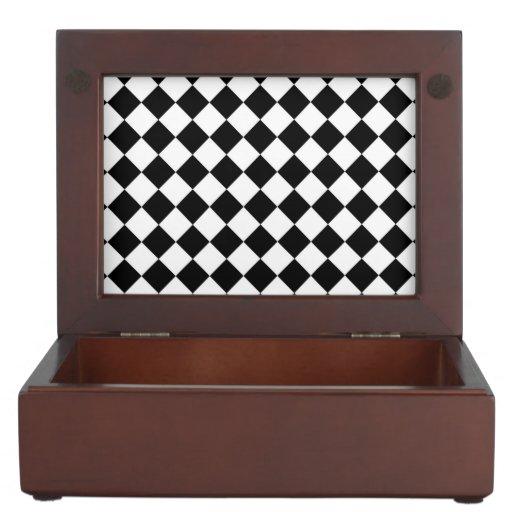 Tablero de damas blanco negro del diamante caja de recuerdos
