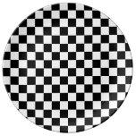 Tablero de damas blanco negro del diamante plato de cerámica