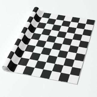 Tablero de damas blanco y negro papel de regalo