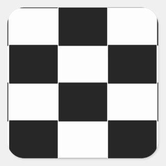 Tablero de damas blanco y negro pegatina cuadrada