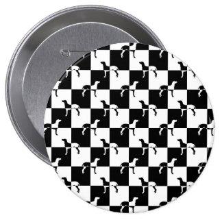 Tablero de damas blanco y negro Weimaraner Chapa Redonda 10 Cm