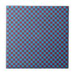 Tablero de damas brillante del azul y del rojo del azulejo ceramica