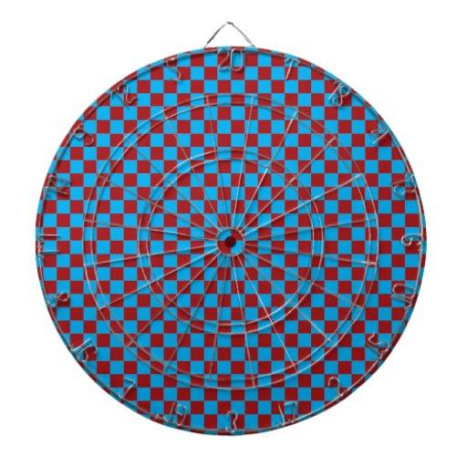 Tablero de damas brillante del azul y del rojo del tabla dardos