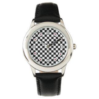 Tablero de damas clásico blanco y negro relojes de pulsera