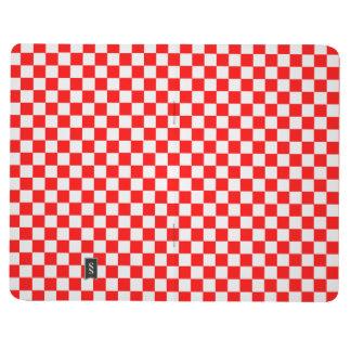 Tablero de damas clásico rojo y blanco cuadernos grapados