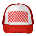 Tablero de damas clásico rojo y blanco gorras de camionero