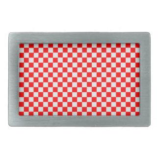 Tablero de damas clásico rojo y blanco hebilla de cinturón rectangular