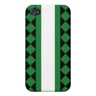 Tablero de damas con la raya verde negro blanco iPhone 4 carcasa