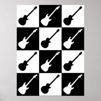Tablero de damas de la guitarra eléctrica póster