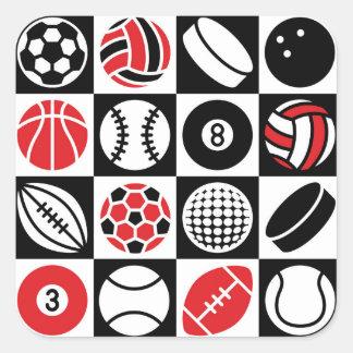 Tablero de damas de los deportes pegatina cuadrada