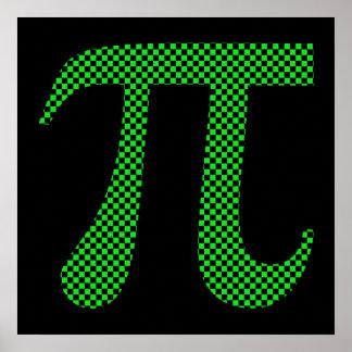 Tablero de damas del pixel del pi póster