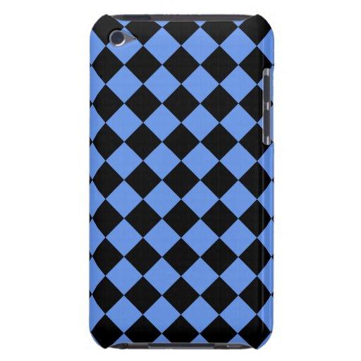 Tablero de damas diagonal azul y negro del Cornflo Case-Mate iPod Touch Cobertura