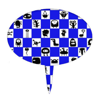 Tablero de damas en azul con los cuadrados del Cri Figura De Tarta