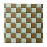 Tablero de damas - menta del chocolate azulejos cerámicos