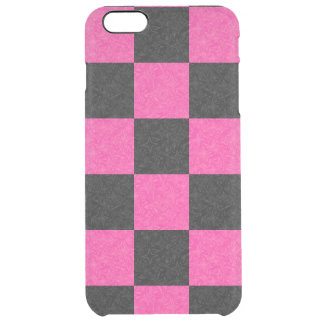 Tablero de damas negro rosado funda clearly™ deflector para iPhone 6 plus de unc