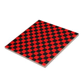 Tablero de damas negro y rojo azulejo cerámica