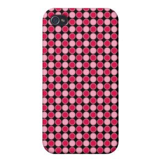 Tablero de damas retro rosado del punto iPhone 4/4S carcasas