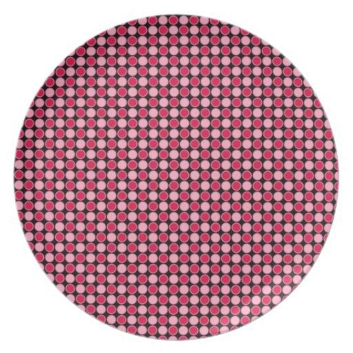 Tablero de damas retro rosado del punto plato