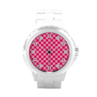 Tablero de damas rosado de la obra clásica de la reloj de mano