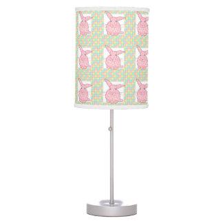 Tablero de damas rosado del verde amarillo del lámpara de mesilla de noche