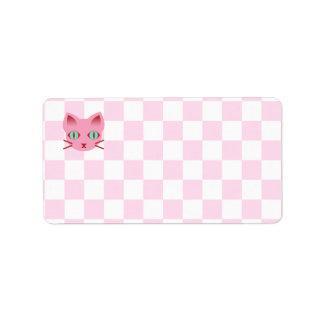 Tablero de damas rosado y blanco del gato del etiquetas de dirección