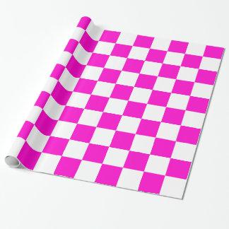 Tablero de damas rosado y blanco papel de regalo