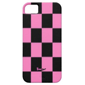 Tablero de damas rosado y negro de la iPhone 5 funda