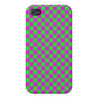 Tablero de damas rosado y verde iPhone 4/4S fundas