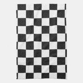 Tablero de damas texturizado simple toalla de cocina
