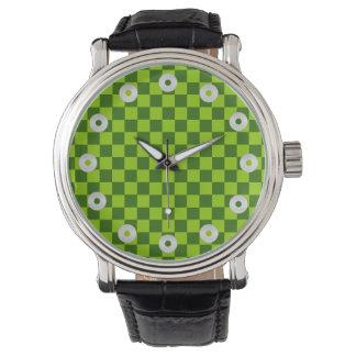 Tablero de damas verde de la obra clásica de la reloj de mano