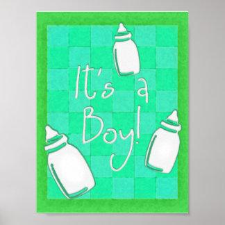 ¡Tablero de damas verde es un muchacho! Poster