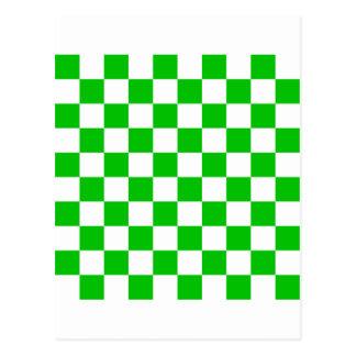 Tablero de damas verde tarjeta postal