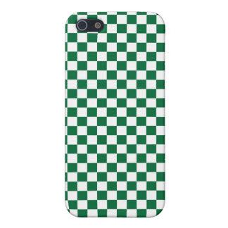 Tablero de damas verde y blanco iPhone 5 carcasa