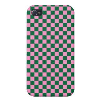 Tablero de damas verde y rosado iPhone 4 protector
