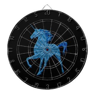 Tablero de dardo azul del unicornio del fuego