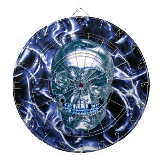 Tablero de dardo azul eléctrico del cráneo del