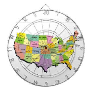 tablero de dardo del mapa del país de Estados Unid