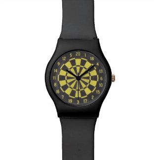 Tablero de dardo (negro/amarillo) relojes de pulsera
