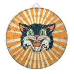 Tablero de dardo retro del gato negro del vintage tablero dardos