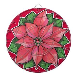Tablero de dardo rojo de la alegría del Poinsettia Tablero De Dardos