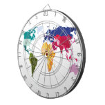 Tablero de dardos del mapa del mundo