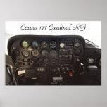 Tablero de instrumentos cardinal de Cessna 177 RG Poster